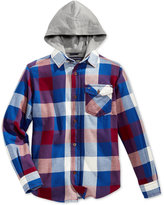 Tommy Hilfiger Ansel Plaid Hooded Shirt, Big Boys (8-20)