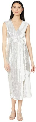 Badgley Mischka V-Neck Sequin Wrap Dress (White) Women's Clothing