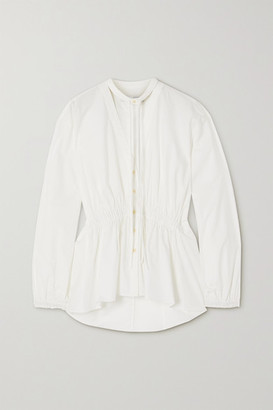 Proenza Schouler White Label Tie-detailed Gathered Cotton-poplin Blouse - Off-white