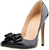 OCHENTA Women's Closed Toe Cusp High Heels Patent Leather Bow Knot Wedding Pumps