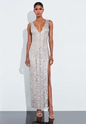 Missguided Silver Plunge Embellished Split Maxi Dress