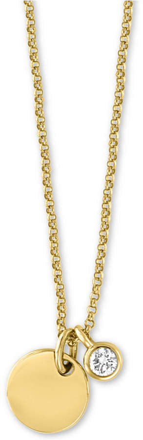 "Effy Diamond Bezel & Disc 18"" Pendant Necklace (1/10 ct. t.w.) in 14k Gold"
