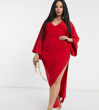 Club L London Plus plunge maxi dress in red
