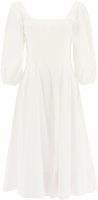 STAUD WELLS POPLIN MIDI DRESS 2 White Cotton