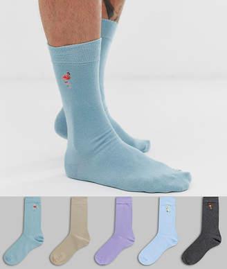 Burton Menswear socks with tropical bird print 5 pack-Blue