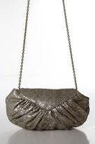 Lauren Merkin Silver Metallic Embossed Leather Small Clutch Handbag