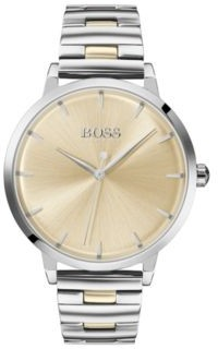 BOSS Stainless-steel watch with link bracelet and golden accents