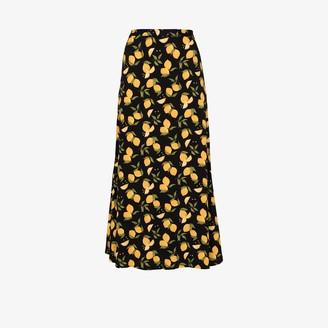 Reformation Bea lemon print midi skirt