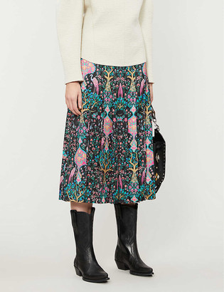 Sandro Ivane graphic-print high-waist crepe midi skirt