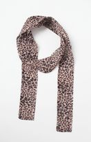 La Hearts Cheetah Print Skinny Scarf