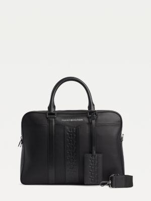 Tommy Hilfiger Embossed Monogram Leather Computer Bag