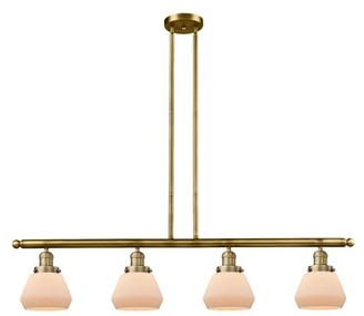 Brayden Studio Dupree 4 - Light Kitchen Island Linear Pendant Finish: Brushed Brass