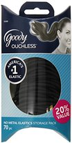 Goody Ouchless No Metal Black Hair Elastics Storage Pack, 4mm, 70 Count
