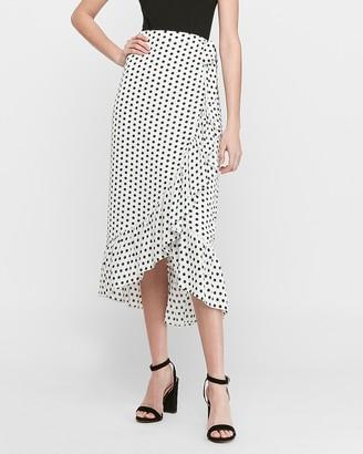 Express High Waisted Polka Dot Wrap Midi Skirt