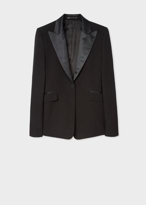 Paul Smith Women's Slim-Fit Black One-Button Wool Tuxedo Blazer