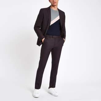 River Island Mens Dark Purple skinny fit suit trousers