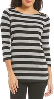 Preston & York Casey Striped Top with Zipper Detail at Shoulder