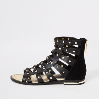 River Island Womens Black studded gladiator sandals