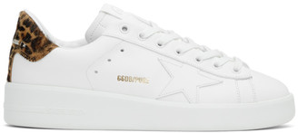 Golden Goose White Leopard Pure Star Sneakers