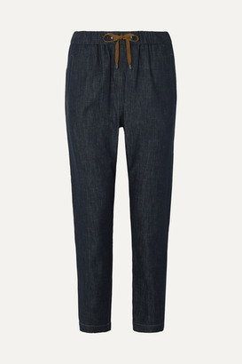 Brunello Cucinelli Bead-embellished Denim Tapered Pants - Dark denim