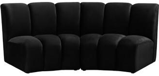 "Latitude Run Robertsville Velvet Modular 83"" Armless Sofa Fabric: Black"