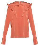 Fendi Ruffled-front crepe de Chine blouse