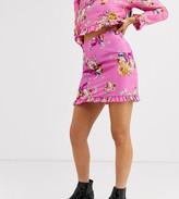 Asos DESIGN Petite mini skirt in pink floral print two
