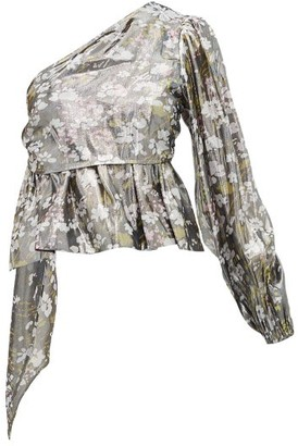 Ganni Metallic Floral-print One-shoulder Blouse - Silver