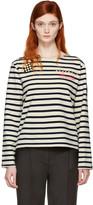 Marc Jacobs Ecru Striped 'Paradise' Long Sleeve T-Shirt