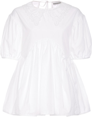 Cecilie Bahnsen Embroidered Collar Pleated Cotton Blouse