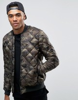 Pull&Bear Quilted Bomber Jacket In Camo