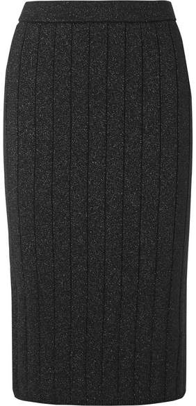 Marc Jacobs Ribbed Stretch-lurex Pencil Skirt - Black