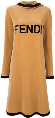 Fendi Pre Owned Velvet Logo Midi Dress