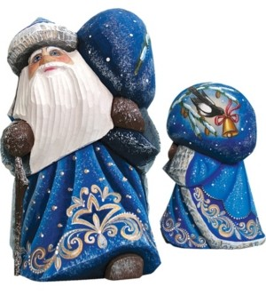 G.Debrekht G.DeBrekht Woodcarved and Hand Painted Santa Midnight Yuletide Chorus with Bag Figurine