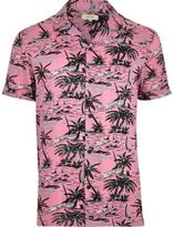 River Island Mens Pink tropical print short sleeve shirt