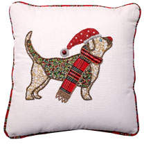 Home Collection By Seasons Designs Beaded Christmas Dog Pillow