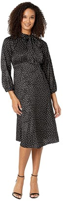 Calvin Klein 3/4 Sleeve Polka Dot A-Line Dress w/ Tie Neck (Black/Cream) Women's Dress