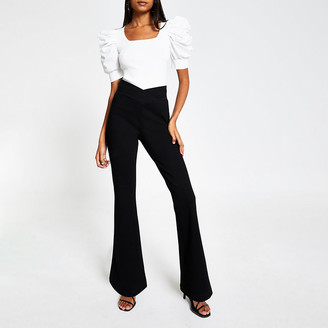 River Island Black crossover waistband flare trousers