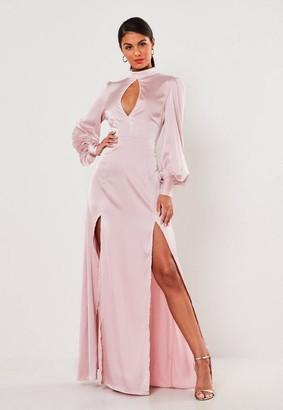 Missguided Rose Satin High Keyhole Maxi Dress