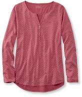 L.L. Bean Women's Heathered Cotton/Modal Henley, Print