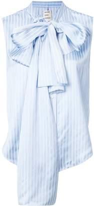Maison Rabih Kayrouz Bow Detail Sleeveless Striped Blouse