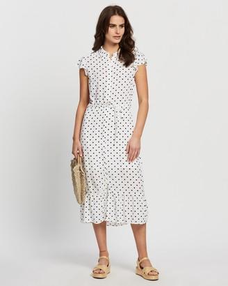 Dorothy Perkins Spot Frill Peplum Hem Shirt Dress