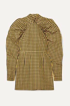 Rotate by Birger Christensen Gathered Checked Twill Mini Dress - Yellow