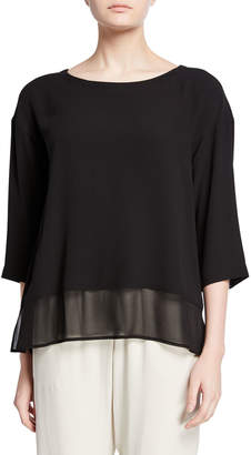 Eileen Fisher Plus Size Bateau-Neck Silk Georgette Top
