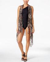 Carmen Marc Valvo Metallic Cover-Up Kimono Vest