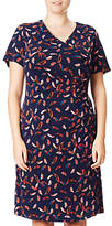 Adrianna Papell V Neck Wrap Feather Print Dress, Navy/Multi