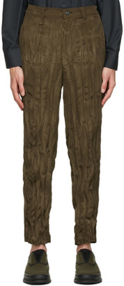 Issey Miyake Khaki Corduroy Twisted Trousers