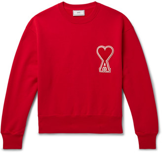 Ami Logo-Appliqued Loopback Cotton-Jersey Sweatshirt
