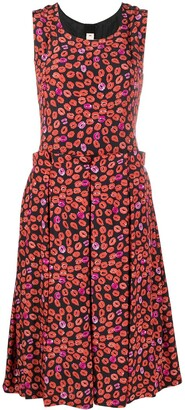 Marni Pleated Lip-Print Dress