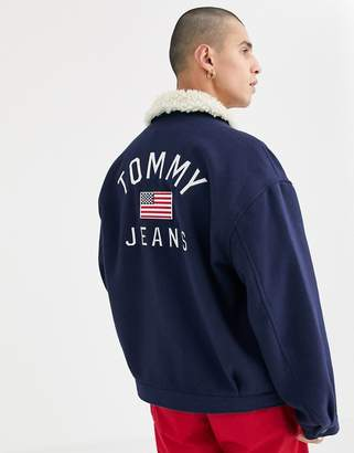 Tommy Jeans trucker jacket in navy with sherpa collar